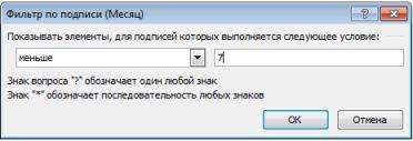 фильтр по подписям диалоговое окно