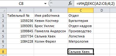 формула ИНДЕКС