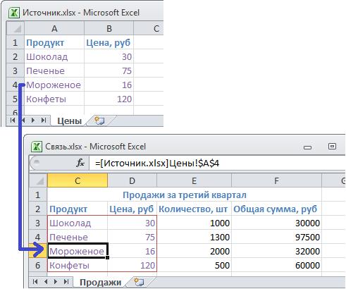 связи Excel