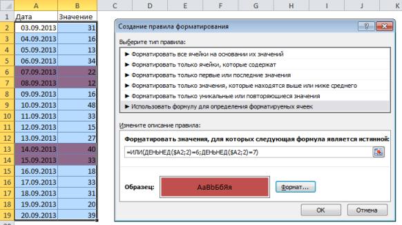 Создание правила форматирования